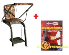 Angebot: Aluminiumansitzleiter klappbar, Ansitzstuhl + Rückenwärmer Thermopad