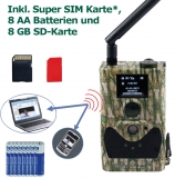 Spar set MMS GPRS 14 MP HD Wildkamera incl. SimpleSIM, 8 Batterien